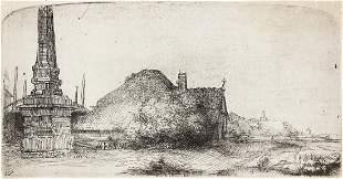 REMBRANDT VAN RIJN Landscape with an Obelisk.