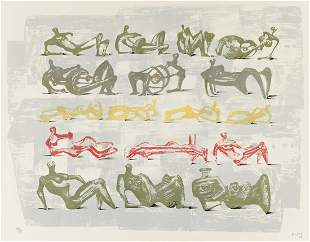 HENRY MOORE Seventeen Reclining Figures with