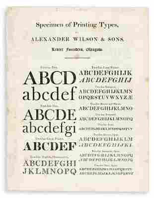 [SPECIMEN BOOK -- ALEXANDER WILSON & SONS]. Specimen of