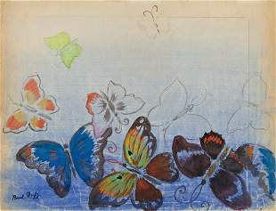 RAOUL DUFY (1877 - 1953, FRENCH) Etude de Papillons.