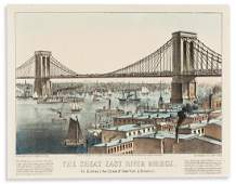CURRIER & IVES. The Great East River Bridge. To Connect
