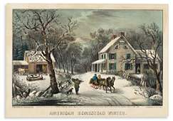 CURRIER & IVES. American Homestead Winter.
