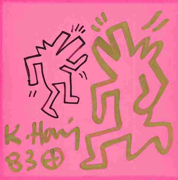 KEITH HARING Two Barking Dogs.