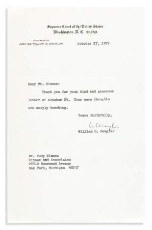 (SUPREME COURT.) DOUGLAS, WILLIAM O. Brief Typed Letter