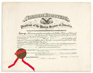 ROOSEVELT, THEODORE. Partly-printed Document Signed, as