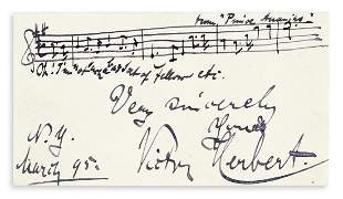 HERBERT, VICTOR. Two Autograph Musical Quotations