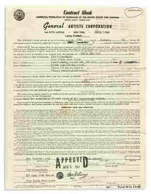 SIMONE, NINA. Partly-printed Document Signed, contract