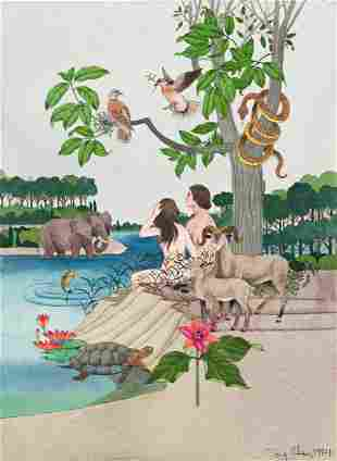 """TONY CHEN (1929- ) """"Adam and Eve."""" [CHILDRENS / BIBLE]"""