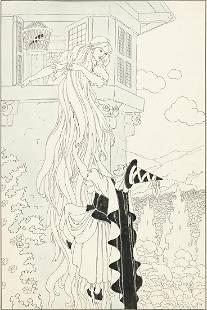 """FREDERICK RICHARDSON (1862-1937) """"Rapunzel let down her"""