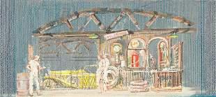 """JO MIELZINER (1901-1976) """"Garage Scene."""" [THEATER / F."""