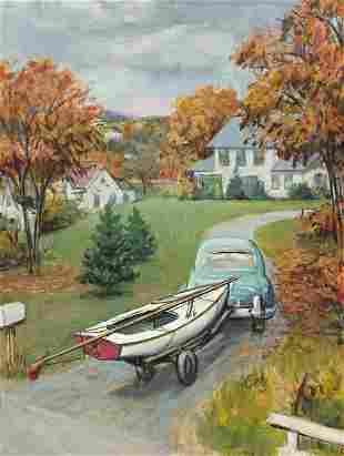 ARTHUR GETZ (1913-1996) Car Towing Sailboat. * Sweeping