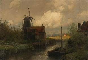 HERMANN HERZOG Dutch Canal Scene.