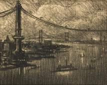 JOSEPH PENNELL Manhattan Bridge at Night, Looking
