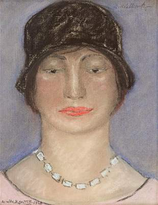 ABRAHAM WALKOWITZ Portrait of a Woman with a Hat and