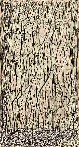 ABRAHAM WALKOWITZ Three abstract cityscape ink