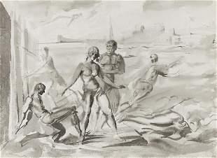 REGINALD MARSH Bathers at a Pier, New York * Bathers