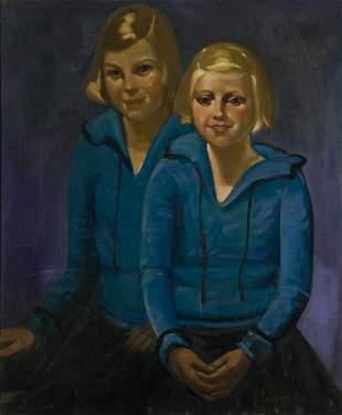 GEORGE LUKS Double-Portrait of Josephine DeGrange