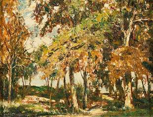 LAWRENCE NELSON WILBUR Autumn Sunlight, Central Park.