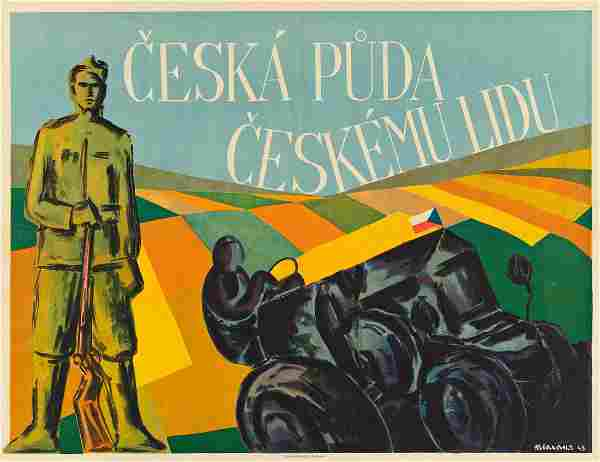 VARIOUS ARTISTS. [CZECH PEOPLES.] Two posters. Sizes