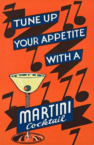 DESIGNERS UNKNOWN. [COCKTAILS / MARTINIS.] Group of 4