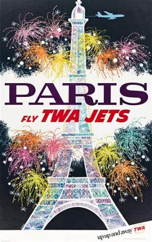 DAVID KLEIN (1918-2005). PARIS / FLY TWA JETS. Circa