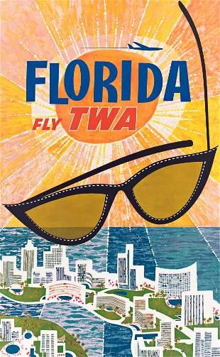 DAVID KLEIN (1918-2005). FLORIDA / FLY TWA. Circa