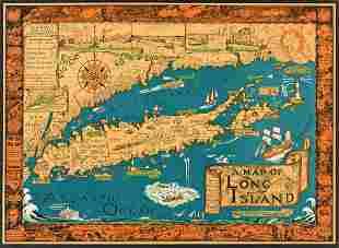 COURTLAND SMITH (1907-2005). MAP OF LONG ISLAND. 1961.