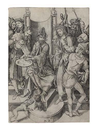 2042004: MARTIN SCHONGAUER Christ before Pilate.