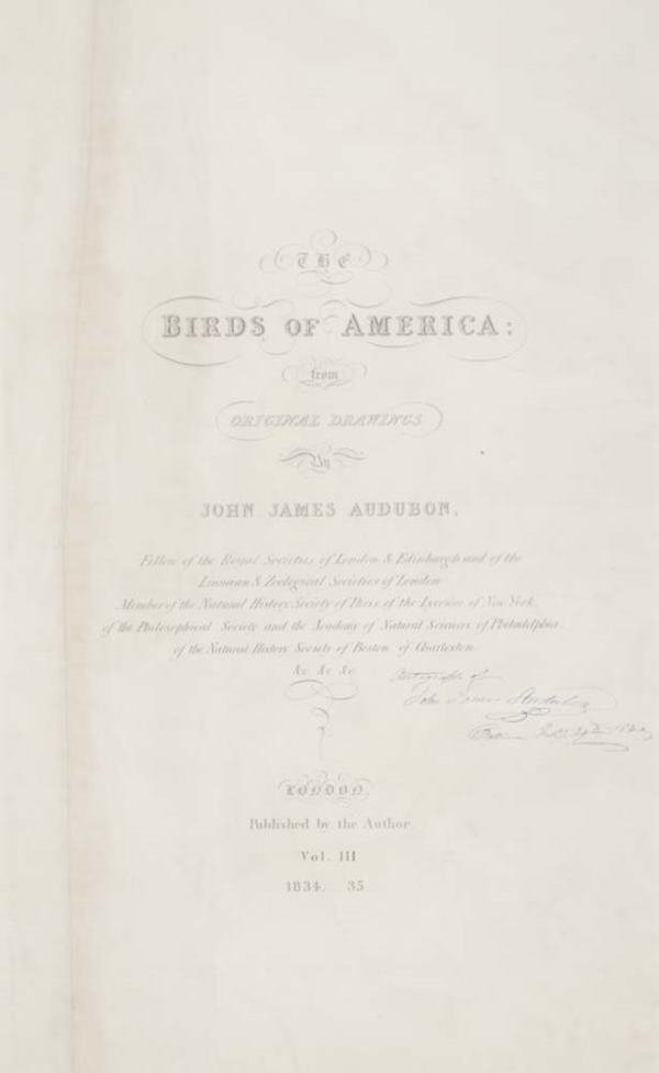 2043012: AUDUBON, JOHN JAMES. Title-page from the doubl