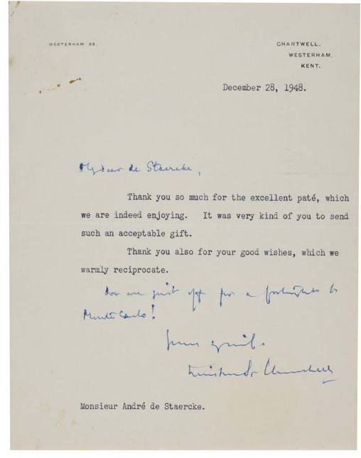 2043020: CHURCHILL, WINSTON. Typed Letter Signed,