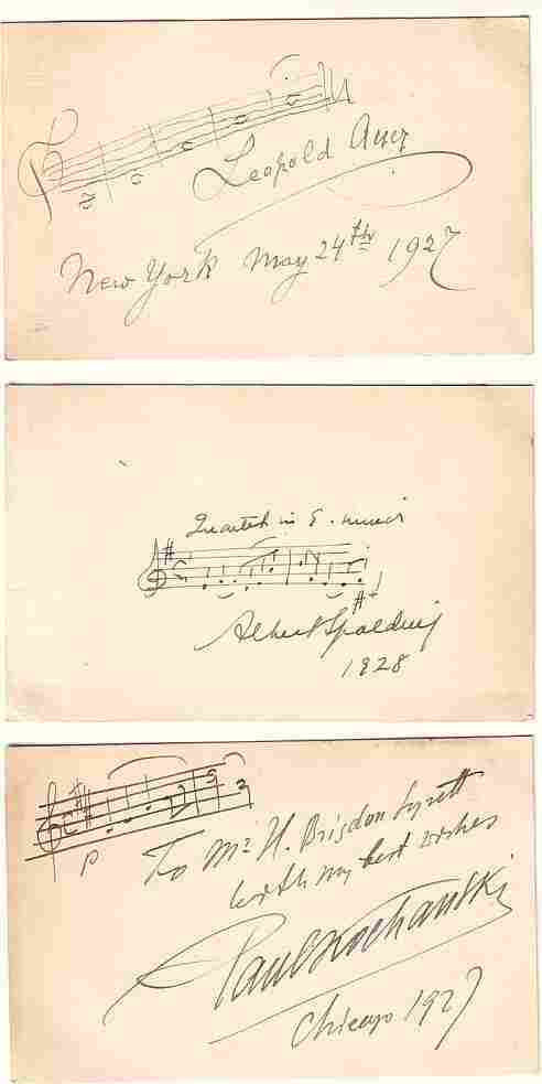 (VIOLINISTS.) Group of 7 Signatures on cards,
