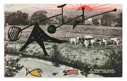 CALDER, ALEXANDER. Photograph postcard with ink and