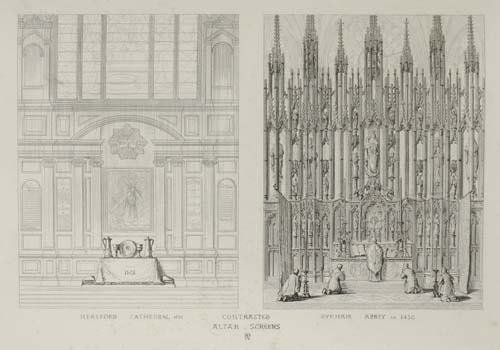2044009: (ARCHITECTURE.) Pugin, Augustus Welby. Contras