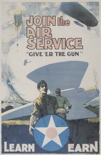 2048007: Poster JOIN THE AIR SERVICE. Circa 1918. 29x19