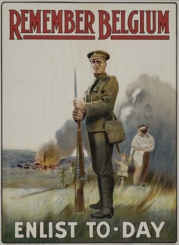 2048010: Poster REMEMBER BELGIUM / ENLIST TO-DAY. 1914.