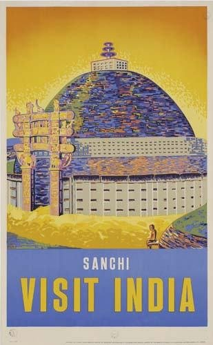 2048115: Poster SANCHI / VISIT INDIA. 40x25 inches. M.