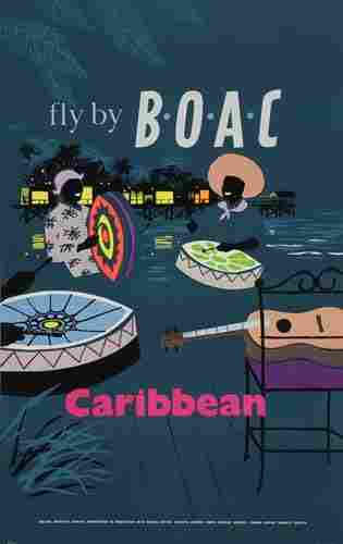 Poster B.O.A.C. / CARIBBEAN. 39x25 inches.