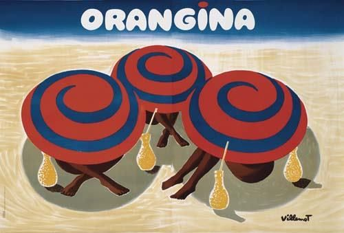Poster BERNARD VILLEMOT ORANGINA. 1984. 62x 92