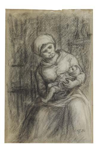 2049001: JEAN-FRANÇOIS MILLET Mère et enfant.