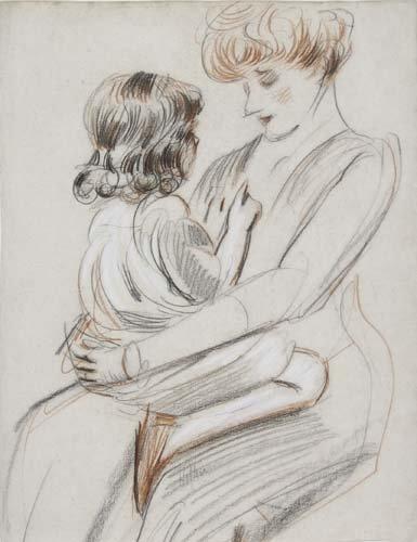2049005: PAUL CÉSAR HELLEU Une mère tenant son enfant s