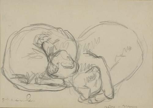 2049006: THÉOPHILE STEINLEN Deux Chats endormie.
