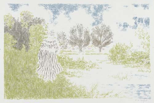 2049011: KER-XAVIER ROUSSEL Paysage avec femme en robe