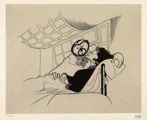 "2050023: AL HIRSCHFELD. ""La Boheme"" - Luciano Pavarotti"