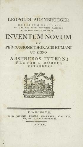 2052019: AUENBRUGGER, LEOPOLD. Inventum novum ex percus