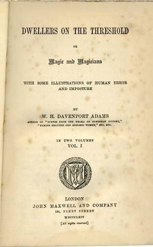 2054002: ADAMS W. H. Davenport. Dwellers on the Thresho