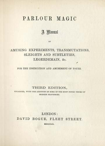 2054013: ANONYMOUS. Parlour Magic . . . Third Edition.