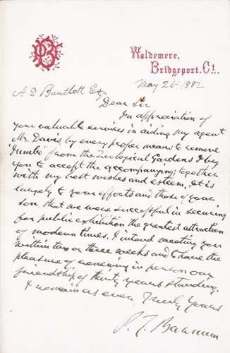 2054022: BARNUM Phineas Taylor (1810-1891). Autograph L
