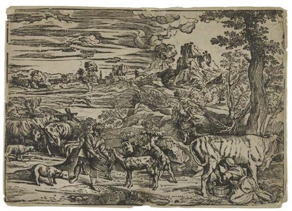 2055017: NICCOLÒ BOLDRINI (after Titian) Landscape with