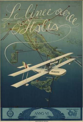2056046: Poster. MARIO BORGONI LE LINEE AEREE D' ITALIA