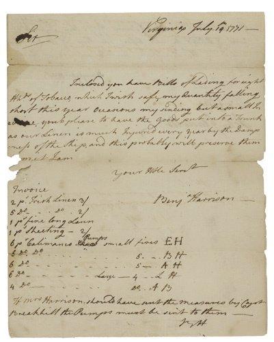 2058004: (AMERICAN REVOLUTION.) HARRISON, BENJAMIN. Aut